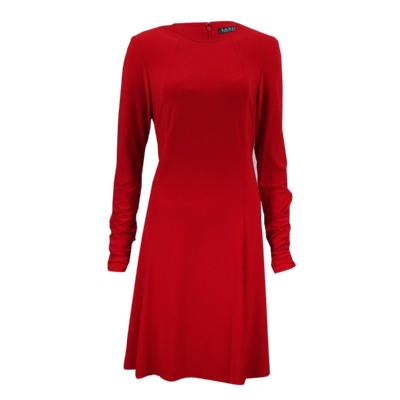 Ralph Laren Ruched Long Sleeve Red Dress