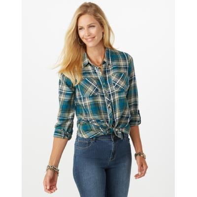 Dressbarn Green Plaid Shimmer Top